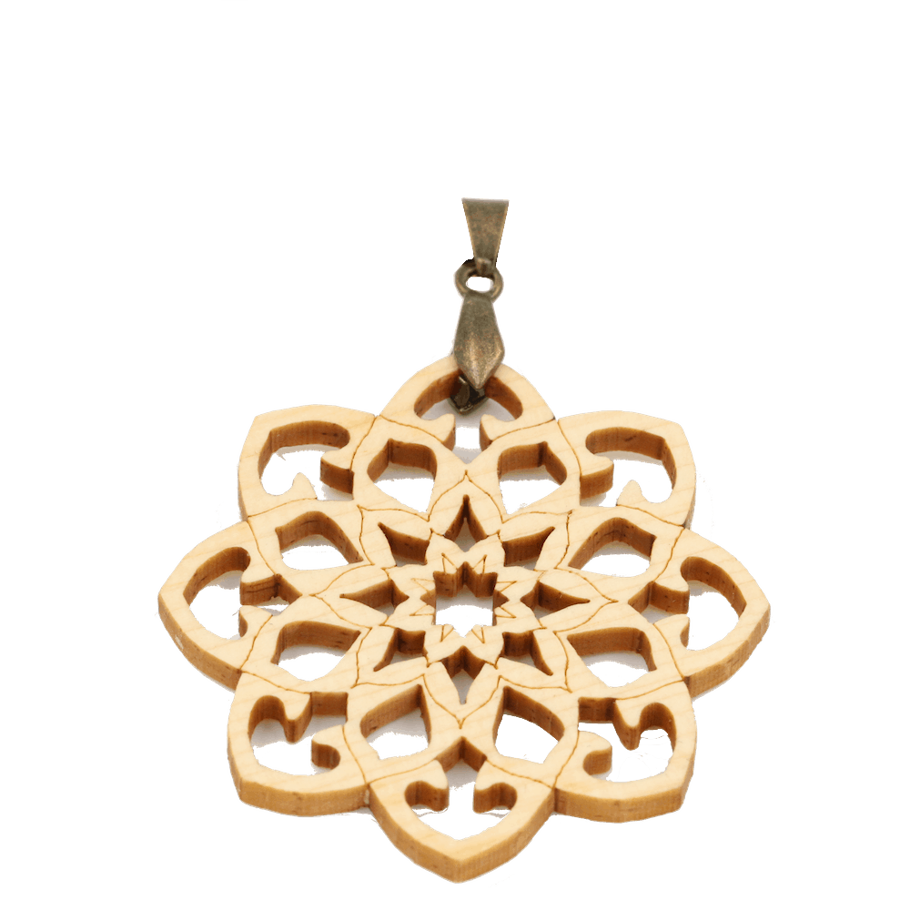 Mandala-Amulett-Holz-Zirbe-40mm-Messing