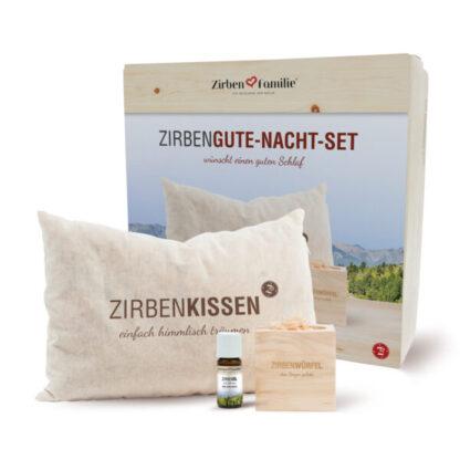 Zirben Set Kombipack mit Zirbenkissen, Zirbenwürfel, Zirbenflocken und Zirbenöl